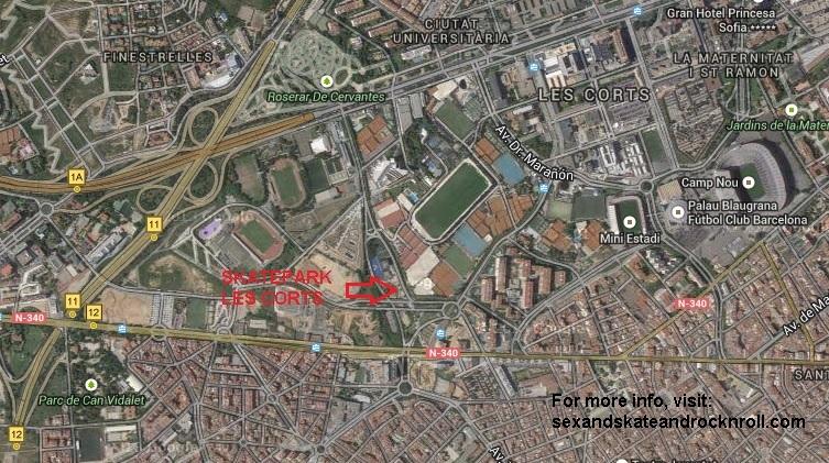 Les Corts Bcn Barcelona Mapa Localizacion Como Llegar Al Skatepark