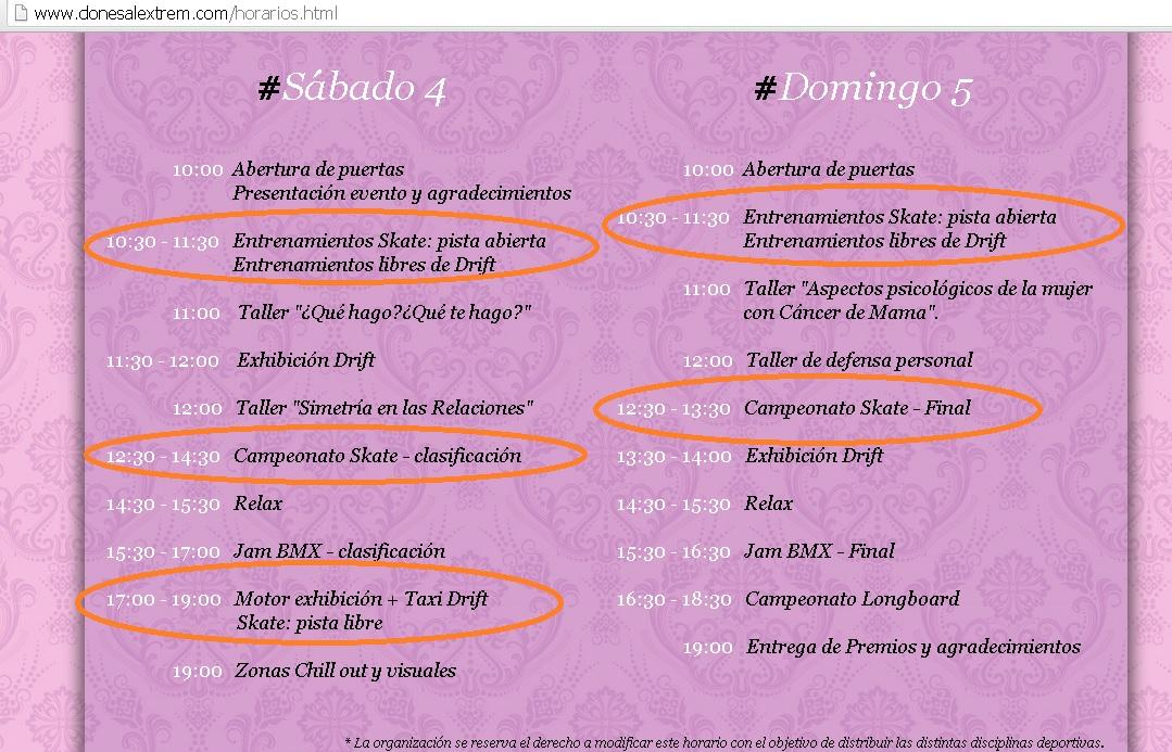 Horarios del evento