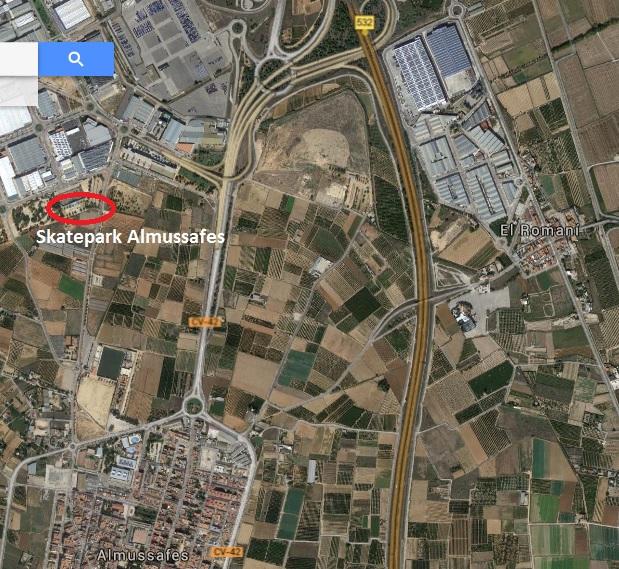 Localización en el mapa del skatepark de Almussafes