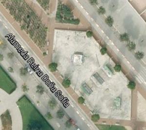 Vista en planta del skatepark de Torrent. Aqui se aprecia su superficie hexagonal