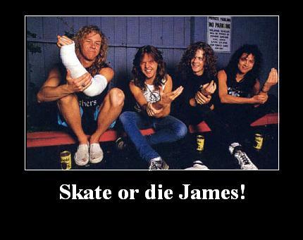 Foto de grupo de Metallica con James lesionado