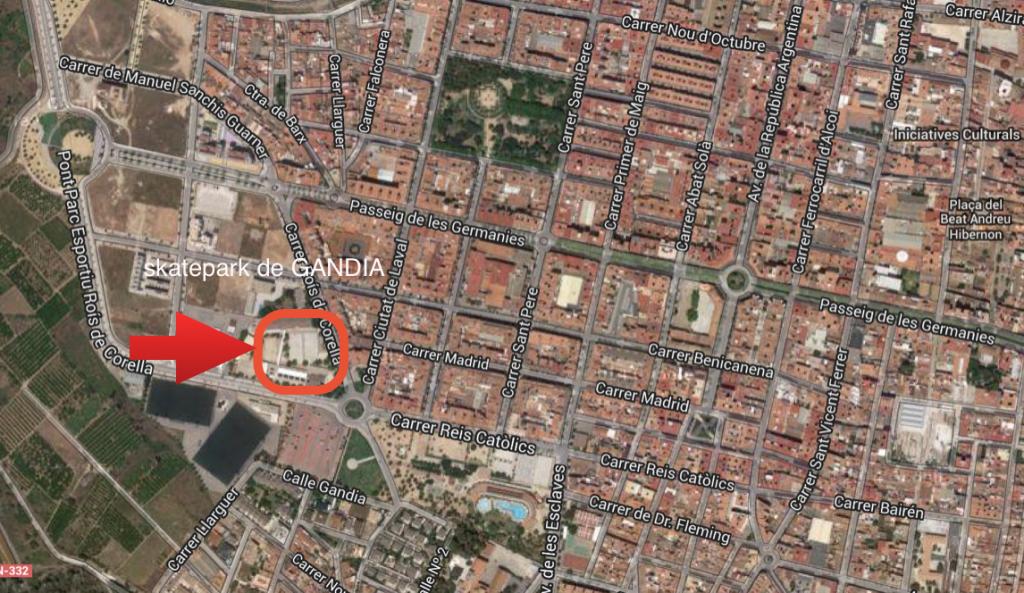 mapa-localización-skatepark-gandia-cómo-llegar-rois-de-corella