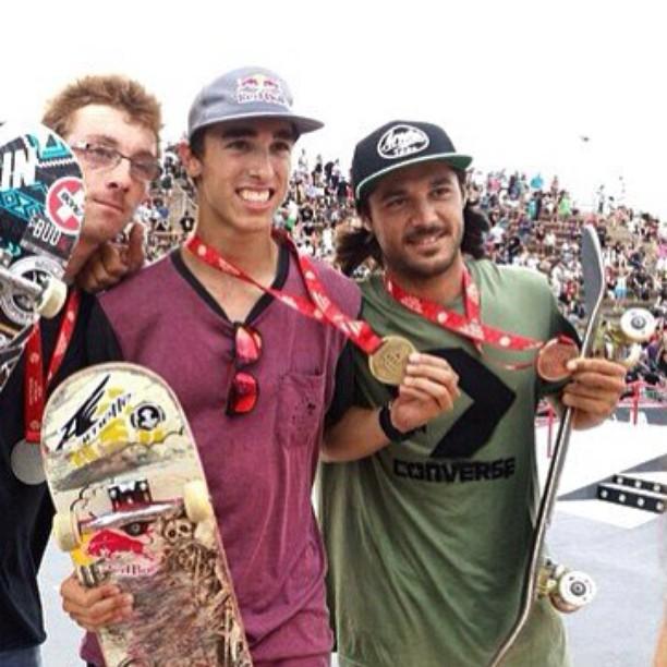 Ganadores de la parte de Street del LKXA Extreme: Adrien Bulard (izq) Danny León (Centro), Cristian Sánchez (derecha)
